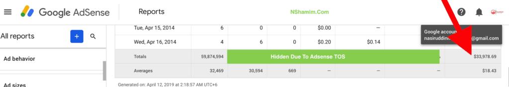 income of Nasir Uddin Shamim